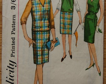 """1960s vintage original Simplicity sewing pattern skirt, top and belt Bust 36"""""""