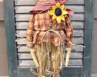 Scarecrow Moe EPATTERN - primitive halloween fall thanksgiving cloth doll craft digital download sewing pattern- PDF - 1.99