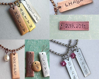 """Skinny Rectangle .. TWO Words on Tag .. 1-3/16"""" long . Date, Name, Symbol . Customize, Personalize, Monogram, Love . Hand Stamped & Antiqued"""