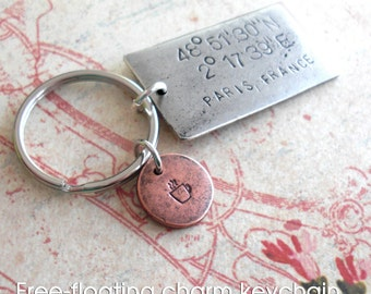 Grande GPS Coordinates Keychain Plus Mini Disc, Hand Stamped Antiqued Silver charm, customize engraved metal, for someone who has everything