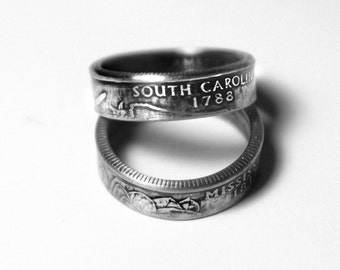 Handcrafted Ring made from a US Quarter - South Carolina - Pick your size