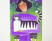 Tabby Cat Lady Art/ Limited Edition Giclee Print by Susan Faye
