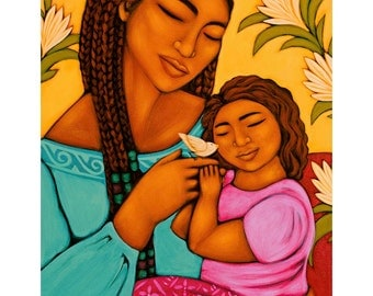 Mother and Child with Baby Bird Print of Folk Art Painting By Tamara Adams
