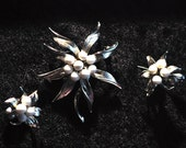 SALE Vintage Silver  White Beaded Pin w/ Clip Earrings Set