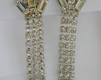 Vintage .. Rhinestone Earrings Czech Clear Dangle Clip On Vintage Bride Wedding Bridal