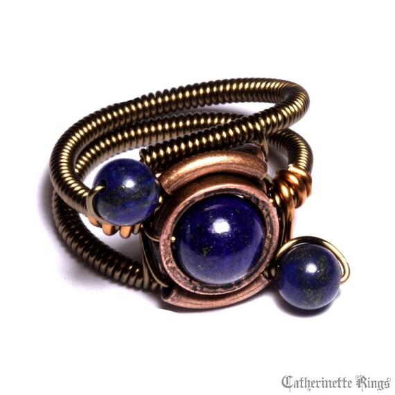 Steampunk Jewelry - Ring - Lapis Lazuli - ORBIT (Custom size available - see description)