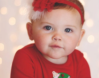 Baby Red Christmas Headband - Baby Red And White Headband - Baby Holiday Feather Headband - Baby Photo Prop
