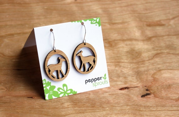 Deer earrings made form Bamboo - lightweight modern woodland inspired dandle hook earrings are eco-friendly
