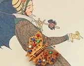 Art Deco Filigree Butterfly Dress Clip- Multi Colored Stones- 1920's -1930's