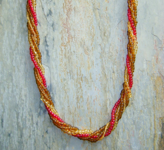 Chocolate, Honey Gold, Deep Red Twist and Multi Strand Necklace.