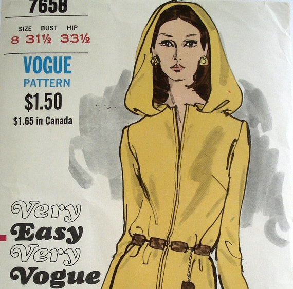 Hooded Dress Pattern Vintage 1960s Hooded Dress