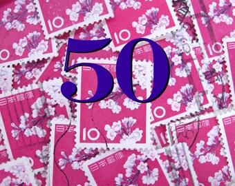 Cherry blossom - 50 -  vintage Japanese postage - pink