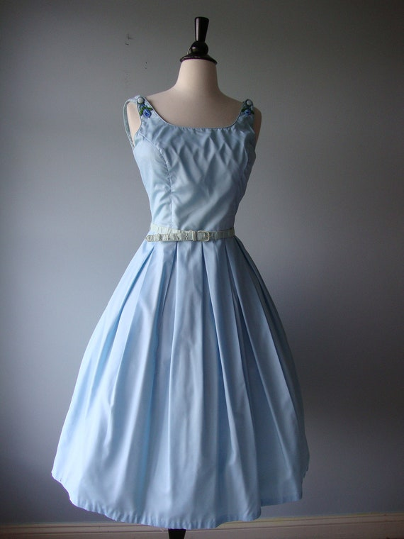 Vintage 1950s Dress //  Sundress with shoulder Applique // fabulous COVER GIRL of MIAMI