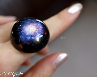 Galaxy ring, Out of this World Fashion Statement NGC 1309 spiral galaxy, Modern Resin Space Jewelry