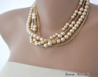 Set of 4 Necklaces,   Pearl Necklace,  Brides Bridesmaids Gifts ,