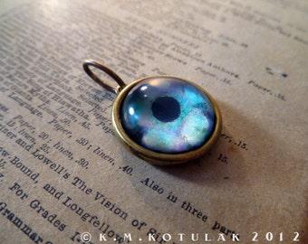 Iris Charm -- Lagoon Blue / Medium -- Brass Eye Pendant
