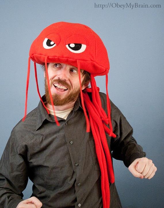 Jellyfish Hat Plush Fleece - Red