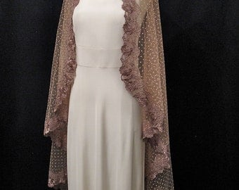 Pale Peach Mantilla Wedding Veil With Polka Dots And Mocha Lace