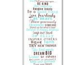 Custom Kids words to Live by Nursery Canvas Personalized Art Child Words Art whimsical words 16X32