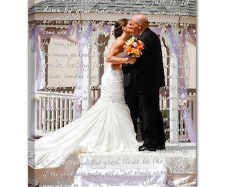 Personalized Unique Wedding Present Photo and writing typography OOAK canvas 10X14