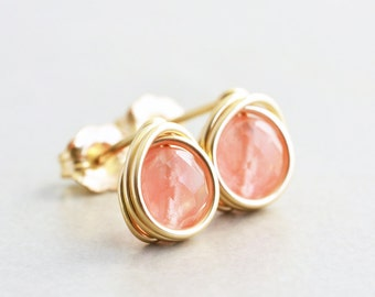 Cherry Quartz Earrings, Pink Salmon Studs, Bridesmaid Earrings