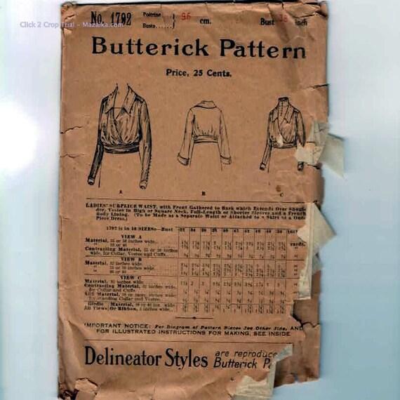 1910s to 1920s Vintage Sewing Pattern Butterick 1792 Misses Surplice Waist Blouse Dress Bust 38 Teens 20s Antique