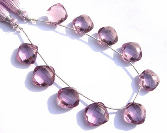 8 Pieces 4 Matched Pair - AAA Pink Amethyst Quartz Faceted Cushion Briolettes Size 14x14mm High Quality Great Price