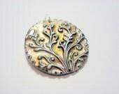 Tree of Life and Birds Pendant Handmade Polymer Clay