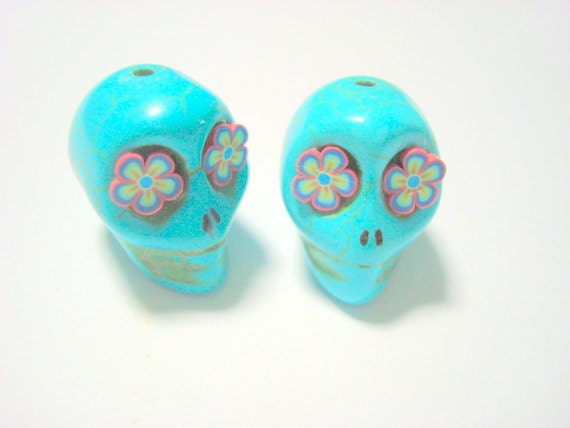 Turquoise Howlite Sugar Skull 18mm Beads with Funky Flower Eyes