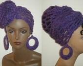 The Original Makeeda Yohari Crochet Head wrap and Earring Set in Purple Haze