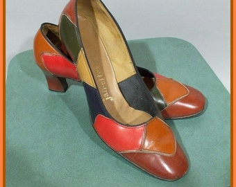 Vintage 60s Colorblock Shoes / Leather Pumps / Fall Colors / 9B