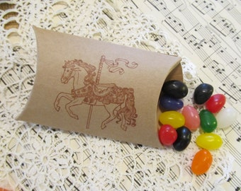 Carousel Horse Favor Box Kraft Paper Party Small Pillow Boxes - Set of 10 - Choose Ink Color - Birthday Bridal Baby Shower Circus Carnival