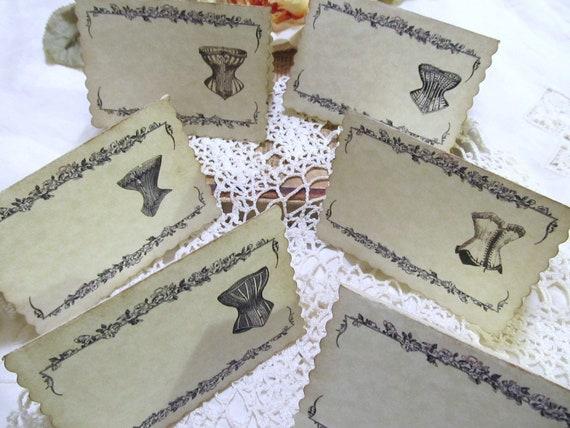 Shower Place Name Cards Vintage Corset or Fancy Corset Table Tent Buffet - Blank -Set of 8- Bridal Shower Lingerie Party Bachelorette