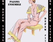 Vintage Sewing Pattern 1930's French Pajamas with Capelet Sleeve in Any Size- PLUS Size Included- Depew 173 -INSTANT DOWNLOAD-