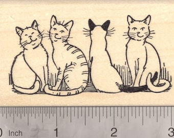 Cat Rubber Stamp, Line of Cats, Feline Line  K18610 Wood Mounted