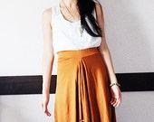 SALE Terracotta Asymmetric Drapy Jersey Skirt