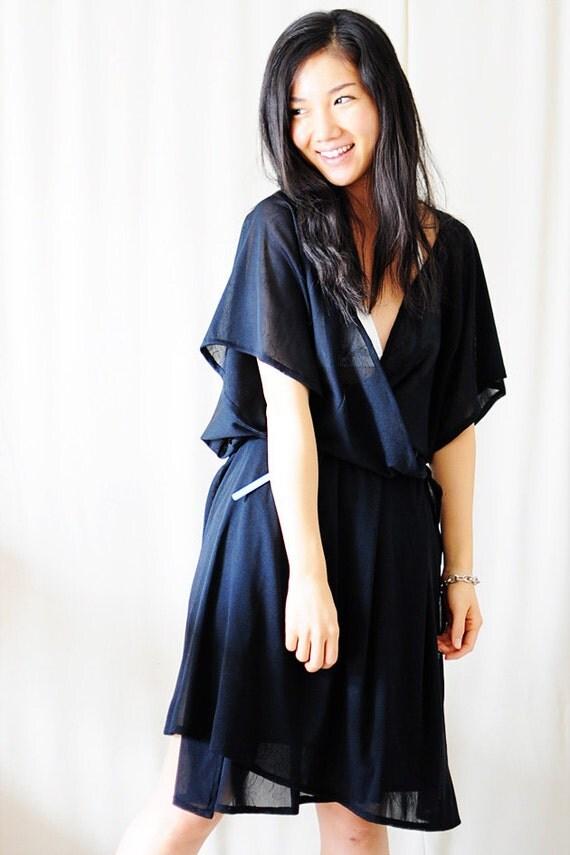 Black Rose Print Sheer Beach Cover Up, Dress, Kimono Cardigan - Fits All Sizes - S, M, L