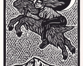 Midnight Ride Over Mount Hood woodcut hand-pulled print 11x14