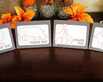 INSTANT DOWNLOAD (Digital) Sophisticated Safari Thank You Note Cards in Brown and Orange - Giraffe, Rhino, Lion, Elephant