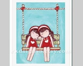 Kids wall art - baby nursery art print - nursery decor - children art print - best friends - sisters - twin art - brown - Gemini - Day Dream