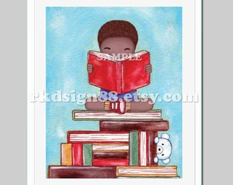 Nursery art print, nursery decor, children decor, kids wall art, library art, back to school, read books - Discover 8 x 10 African painting