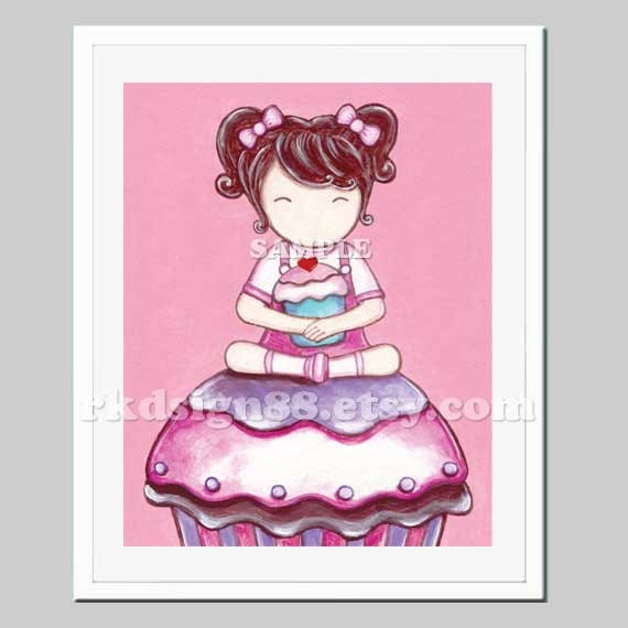 Girls wall art, girls room decor, girl nursery art print, children art, art for kitchen decor, cupcakes art, brown - My Lovely Cupcake 8x10
