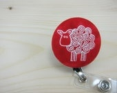 Retractable Badge Holder- Badge Reel ID Holder - Swirly Sheep