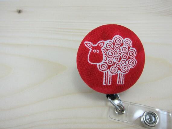 Retractable Badge Holder- Badge Reel ID Holder - Swirly Sheep