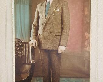 Vintage RPPC in Folder, of Dapper Gentleman and Chair, in Villa Cañás, Argentina