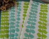 "Cloth Napkins Set of 4 Flannel Blue Green Leaves 10"""
