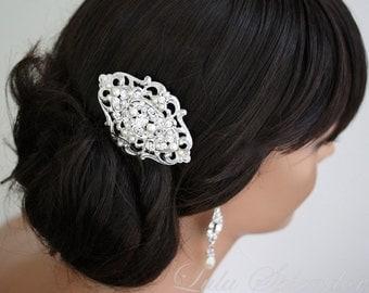 Wedding hair comb Bridal hair comb filigree wedding hair accessories vintage style  Swarovski pearl Rhinestone LEILA GRAND