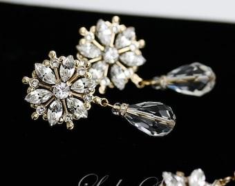 Gold Wedding Earrings, Rhinestone flower Bridal earrings, Crystal dangle earrings, Bridal Jewelry , AUBURY CRYSTAL