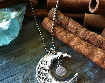 I'll Lasso the Moon...stamped sterling necklace