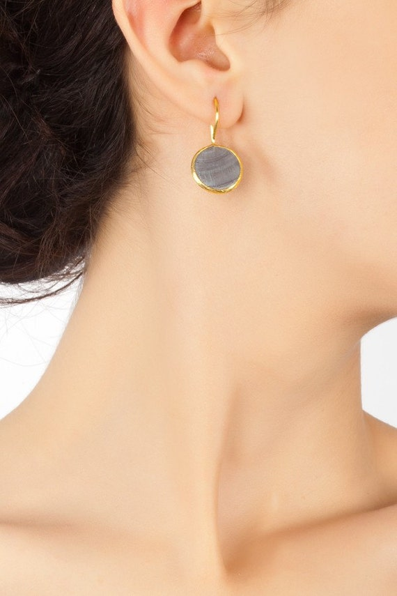 Grey Mother of Pearl Earrings in Gold